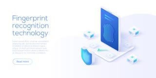 Technologie de reconnaissance d'empreinte digitale dans l'illustrat isométrique de vecteur illustration de vecteur