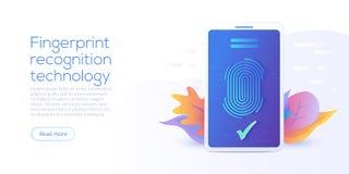Technologie de reconnaissance d'empreinte digitale dans l'illustration plate de vecteur illustration stock