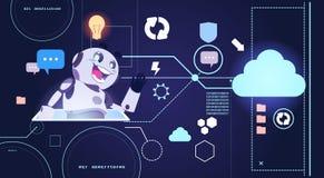 Technologie de robot de Chatbot, Chatterbot utilisant l'aide de Tablette de Digital et le concept virtuels de soutien de Web Image stock