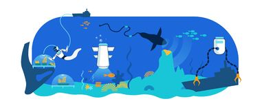 Technologie de robot d'eau du fond de mer Recherche, délivrance illustration stock