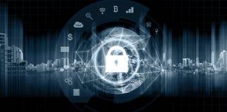 Technologie de système de sécurité de connexion réseau Globe et connexion réseau et serrure avec l'icône d'applications Élément d photo stock