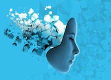 Technologie de visage et d'abrégé sur de Womans. Image libre de droits