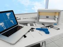 Technologie des Drucken 3d, Druckgewehr Lizenzfreies Stockfoto