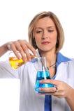 Technologie die van het laboratorium Flessen met behulp van Royalty-vrije Stock Foto
