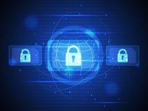 Technologie digitale veiligheid van cybermededeling en gegevens Stock Foto