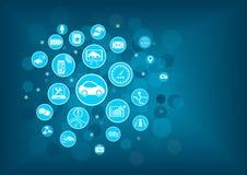 Technologie disruptive pour la voiture reliée et de façon autonome motrice Images libres de droits