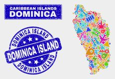 Technologie Dominica Island Map de mosaïque et grunge Dominica Island Stamp illustration stock
