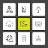 technologie, dsish, antenne, maison, écologie, eco, icônes, W illustration libre de droits