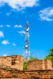 Technologie du sans fil d'antennes du mât TV de tour de télécommunication Image stock
