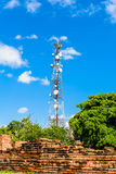 Technologie du sans fil d'antennes du mât TV de tour de télécommunication Photographie stock libre de droits