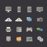 Technologie en Communicatie Metro Retro pictogramreeks Stock Afbeeldingen