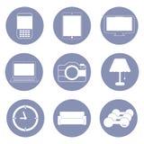Technologie en hobbylevensstijlpictogrammen Stock Foto's