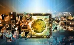 Technologie et affaires de production de télévision et d'Internet concentrées Image stock