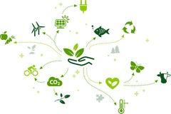Technologie favorable à l'environnement/vecteur environnemental de défis illustration de vecteur