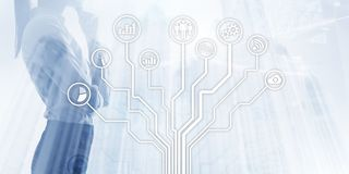 Technologie financière d'affaires utilisant le concept de la vie de liberté d'Internet Icônes d'applications sur le fond brouillé illustration de vecteur