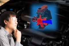 Technologie futée dans le concept augmenté de réalité, glas d'utilisation d'ingénieur Image stock