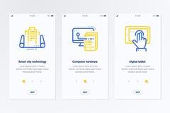 Technologie futée de ville, matériel informatique, cartes verticales de Tablette de Digital avec les métaphores fortes illustration libre de droits