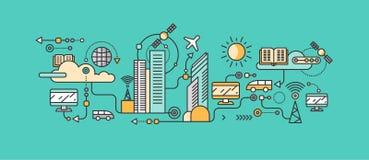 Technologie futée en infrastructure de la ville illustration de vecteur