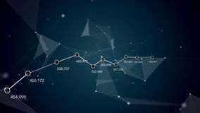 technologie futuriste de fond abstrait Beau plexus avec les nombres, le graphique et la courbe Animation de boucle Business