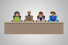 Technologie/Geschäftsleute, die auf einer Tabelle in einer Interview-Platte sitzen vektor abbildung