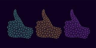 Technologie-Hand mit dem Daumen hoch und Linie Verbindungen Stockbild