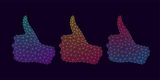 Technologie-Hand mit dem Daumen hoch und Steigung Stockfotos