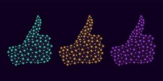 Technologie-Hand mit den hohen und glühenden Knoten des Daumens Lizenzfreies Stockbild