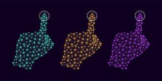 Technologie-Hand mit Plexus-und Glühen Knoten Lizenzfreies Stockfoto