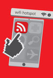 Technologie-Handy-Ikonen mit Wifi APP-Illustration Lizenzfreies Stockfoto