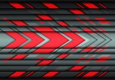 Technologie-Hintergrundvektor des abstrakten roten grauen Pfeilgeschwindigkeitsdesigns moderner futuristischer Stockfotos
