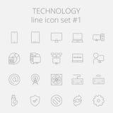 Technologie-Ikonen-Satz Stockfotos