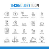 Technologie-Ikonensatz der künstlichen Intelligenz Stockfotos