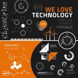Technologie infographics Elemente, Ikonen und Symbole Lizenzfreie Stockfotos
