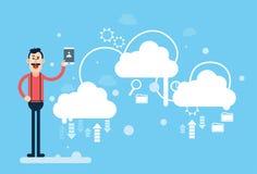 Technologie informatique de nuage de données de part de Tablette de prise d'homme d'affaires Image libre de droits