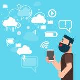 Technologie informatique de nuage de données de part de Tablette de prise d'homme d'affaires Photos stock
