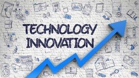 Technologie-Innovation gezeichnet auf weißes Brickwall 3d Stockfotos