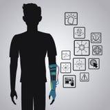 Technologie innovatrice de réalité virtuelle de gamer de Pictograh Image libre de droits