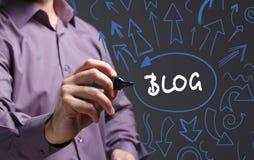 Technologie, Internet, Geschäft und Marketing Junger Geschäftsmann Lizenzfreie Stockfotografie