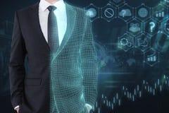 Technologie, künstliche Intelligenz und Netzkonzept lizenzfreie stockfotos