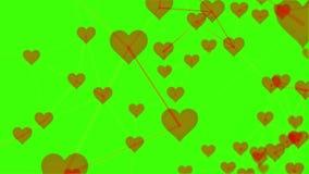 technologie 4k et construction du fond de mouvement de coeur avec des éléments de plexus banque de vidéos