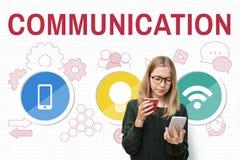 Technologie-Kommunikations-Ikonen-Symbol-Konzept Stockfotografie