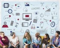 Technologie-Konzept des Internet Wifi-Verbindungs-Sozialen Netzes lizenzfreies stockbild