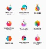 Technologie, Labor, Kreativitätsinnovation und abstrakte Ikonen der Wissenschaft Lizenzfreie Stockbilder
