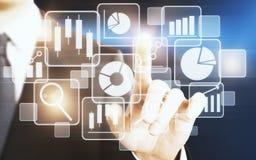 Technologie, mit Berührungseingabe Bildschirm und Werbekonzeption Lizenzfreies Stockfoto
