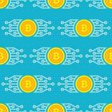 Technologie moderne de blockchain de Bitcoin - modèle sans couture de fond créatif de vecteur Symbole numérique de concept d'arge illustration libre de droits