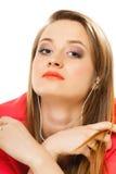 Technologie, muziek - tienermeisje in oortelefoons Royalty-vrije Stock Fotografie