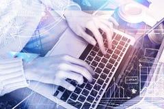 Technologie-, Netz- und Managementkonzept stockfoto