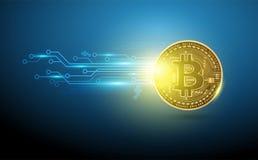 Technologie-Netzgestaltung digitaler Währung Bitcoin futuristische Stockfoto