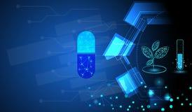 Technologie pharmaceutique utilisant les plantes médicinales pour extraire le concept important de substances illustration stock