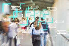 Technologie pour traiter des personnes de voie par le réseau sans fil et de satellites avec le système de balayage d'identité per images libres de droits